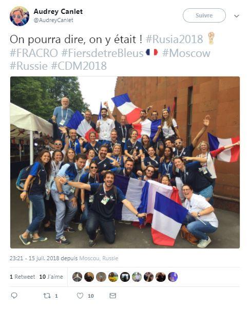 Les supporters français en Russie le 15 juillet 2018
