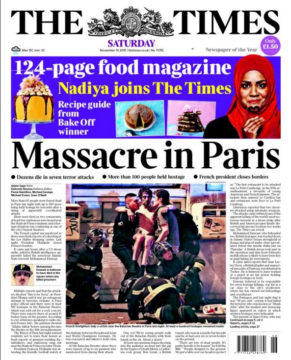 """Outre-Manche, le Times s'horrifie également d'un """"massacre"""""""