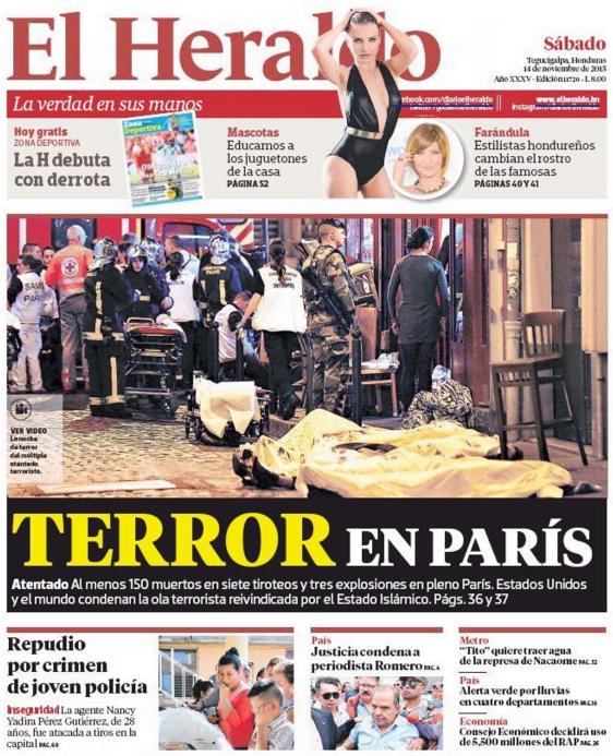 """La presse hondurienne parle de la """"terreur à Paris"""""""