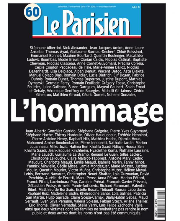 La une du Parisien affiche le nom des victimes