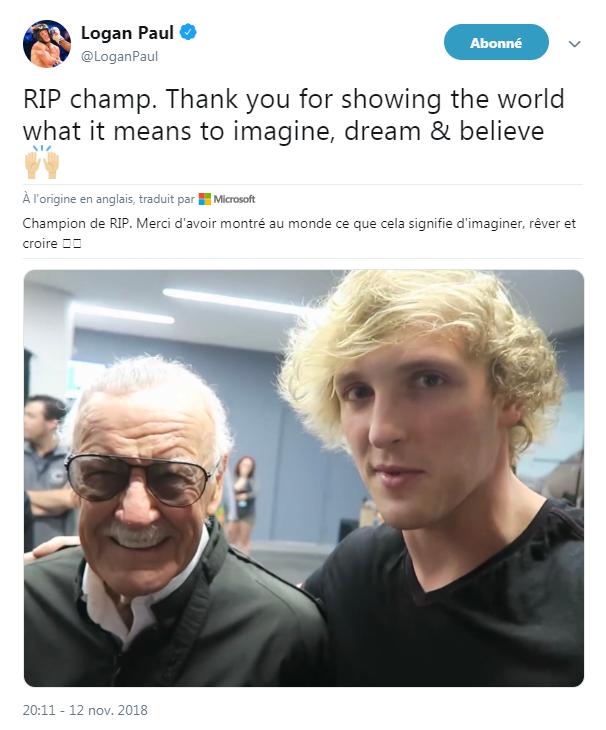 L'hommage du youtubeur Logan Paul à Stan Lee, sur Twitter