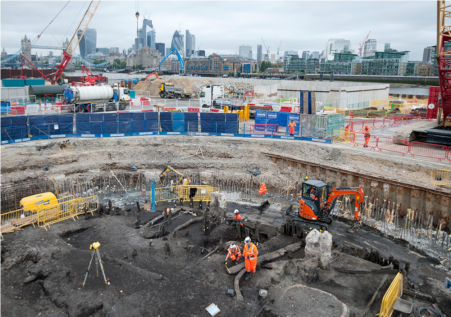 Le chantier des futurs égouts sous la Tamise, sur lequel a été découvert le squelette humain