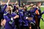 Les joueurs de Canet-en-Roussillon e  liesse après l'élimination de Marseille dimanche 7 mars 2021