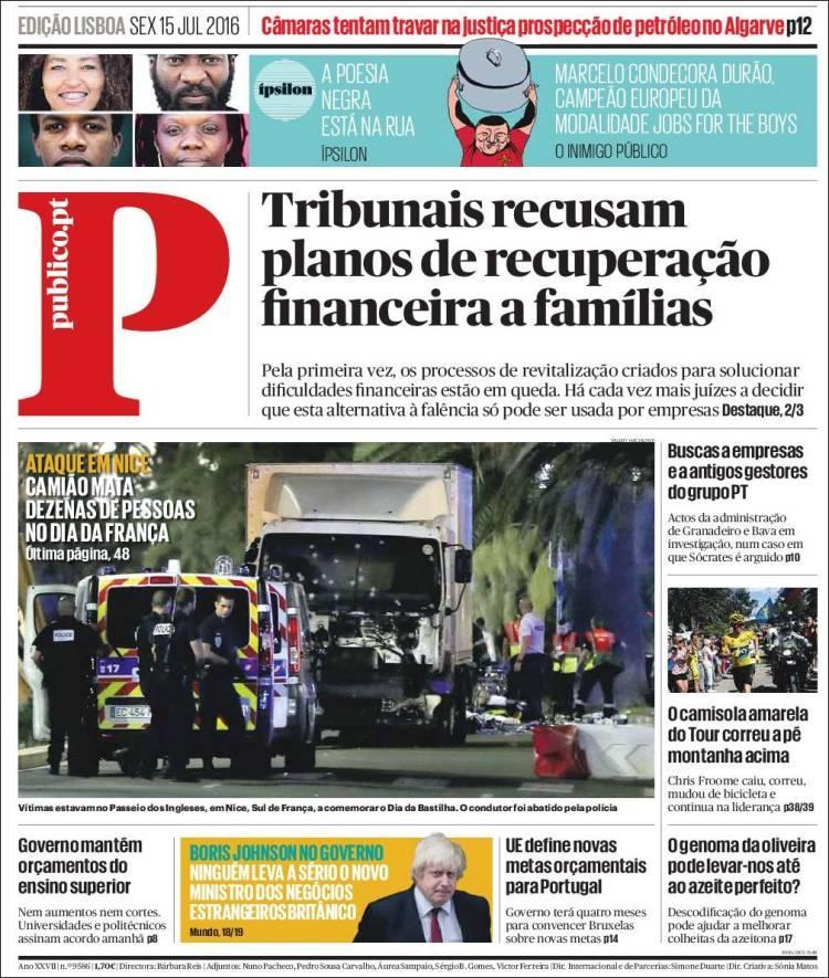 """""""Un camion tue des dizaines de personnes le jour de la fête nationale"""", titre """"Publico"""" à Lisbonne"""