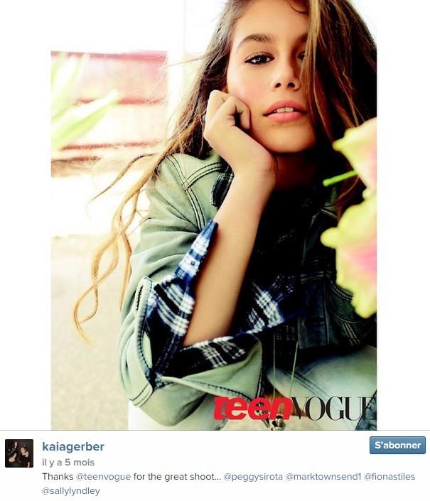 Kaia Gerber, 13 ans, fille de Cindy Crawford, a posé pour le Tenn Vogue de décembre 2014.