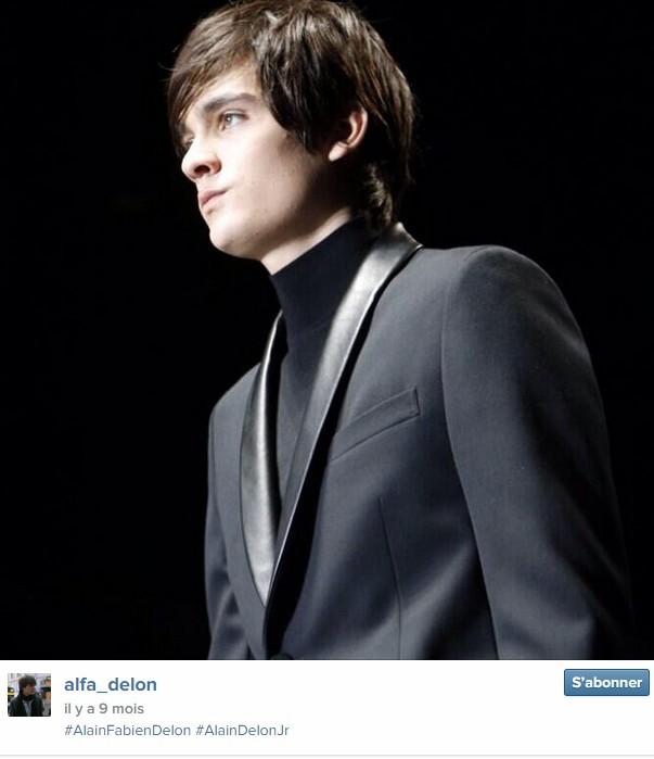Alain-Fabien Delon, fils d'Alain Delon, 21 ans, a défilé pour Gucci en janvier 2014.