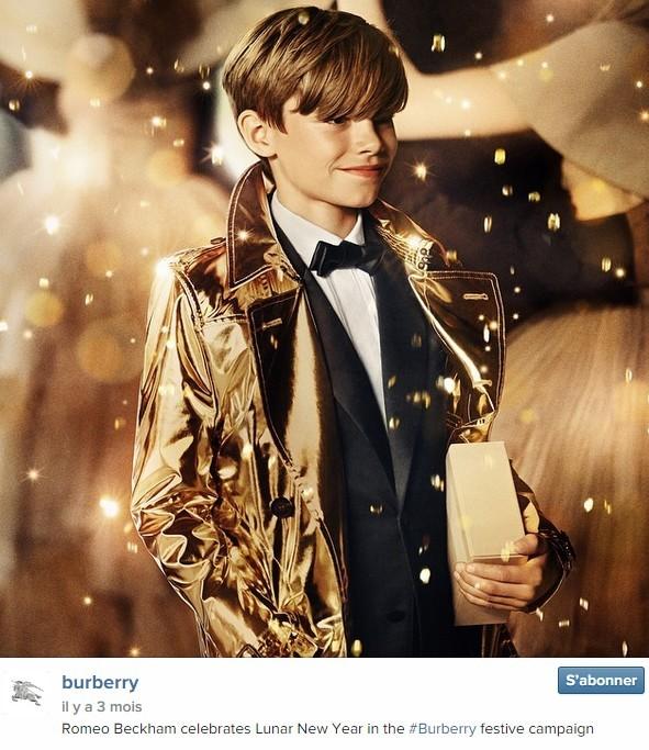 Romeo Beckham, 12 ans, fils de David et Victoria Beckham, est l'égérie de Burberry.