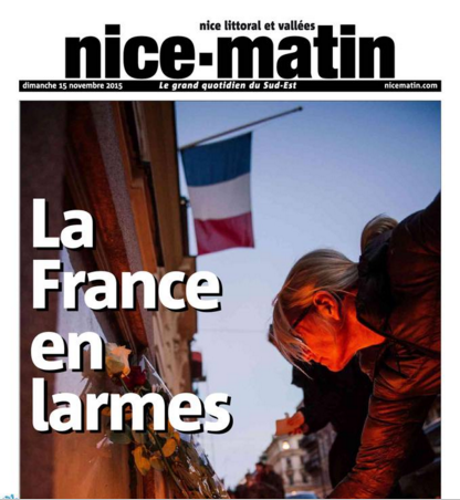 """""""La France en larmes"""" pour Nice-Matin"""