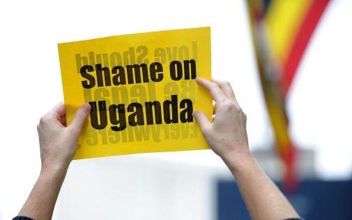 Manifestation à New York contre les lois homophobes en Ouganda le 19 novembre 2009.