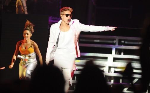 Justin Bieber lors d'un concert le 6 novembre 2013 au Paraguay.