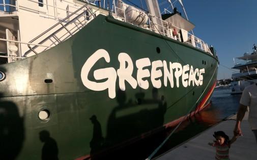 Le navire Rainbow Warrior de l'ONG Greenpeace dans le port d'Acapulco, le 17 janvier 2014