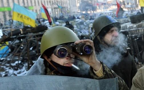 Des opposants ukrainiens le 31 janvier 2014.
