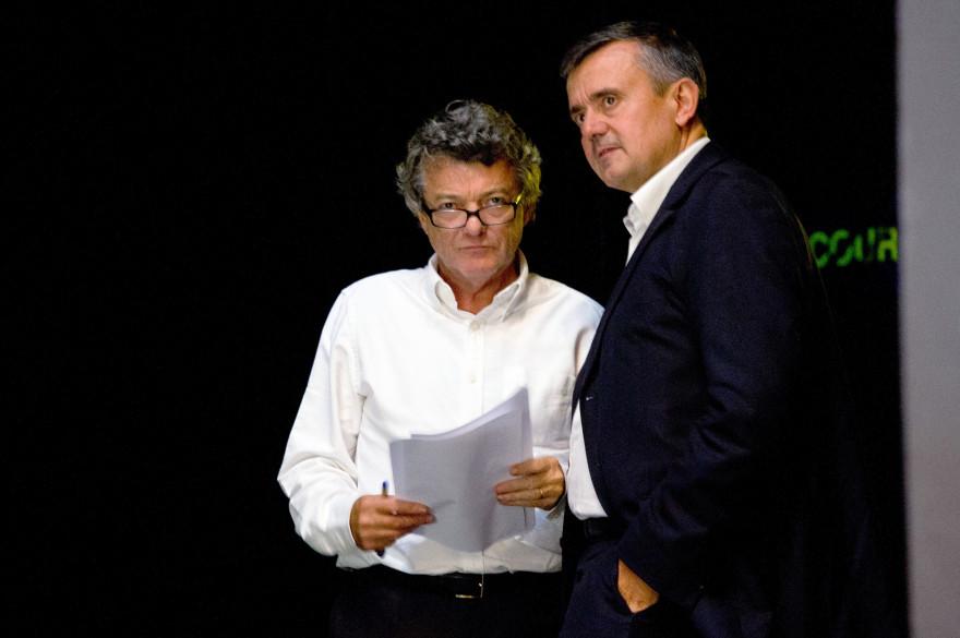 Jean-Louis Borloo et Yves Jégo à Chasseneuil-du-Poitou près de Poitiers le 14 septembre 2013.