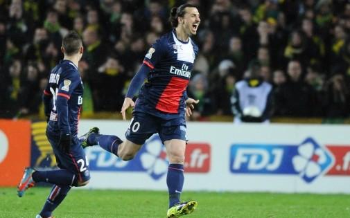 Zlatan Ibrahimovic a marqué les deux buts du PSG à Nantes mardi soir