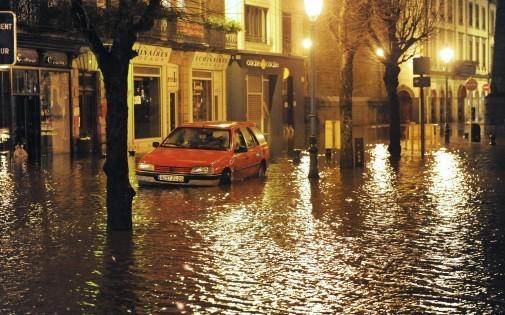 Inondation dans les rues de Morlaix, en Bretagne, le 6 février 2014 (illustration)