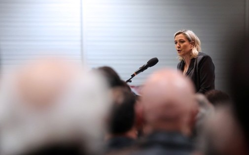 La présidente du Front national Marine Le Pen, en meeting à Bordeaux, le 1er février 2014