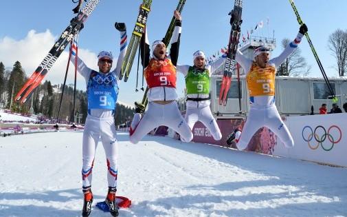 Le relais médaille de bronze de ski de fond
