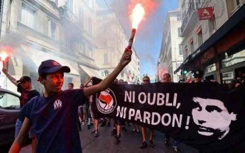 Manifestation antifascite en hommage à Clément Méric à Marseille le 22 juin.