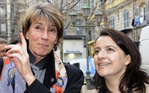 Laurence Vichnievsky avec Cécile Duflot, le 17 mars 2011 à Marseille.