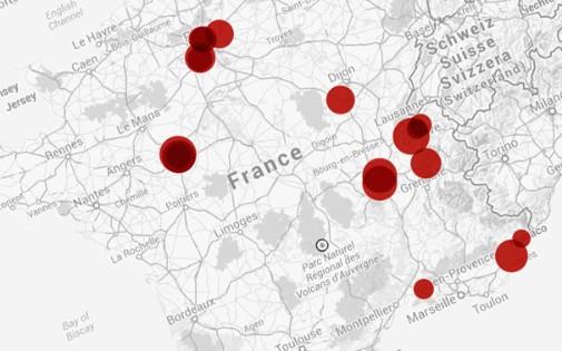 Carte des 20 radars qui flashent le plus en France