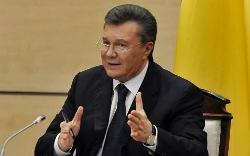 Le président ukrainien déchu Viktor Ianoukovitch s'exprimant en Russie, le 28 février 2014