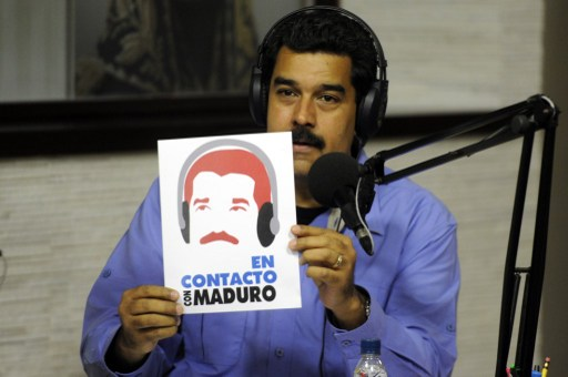 """Nicolás Maduro durant son émission """"En contact avec Maduro"""" le 11 mars 2014."""