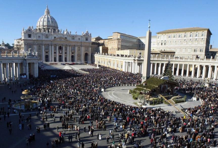 La place Saint-Pierre de Rome, dans la Cité du Vatican (illustration)