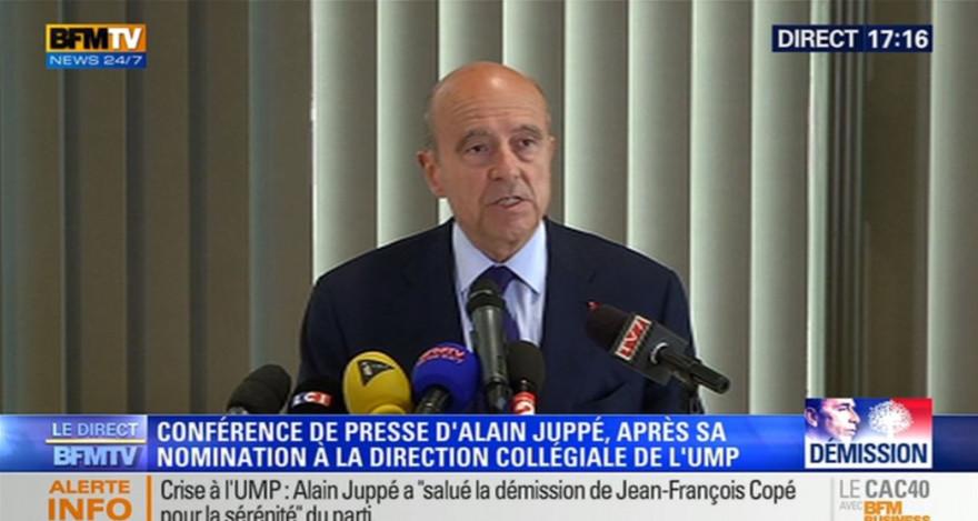 Alain Juppé en conférence de presse, mardi 27 mai