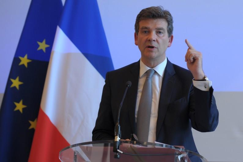 Le ministre de l'Economie Arnaud Montebourg lors de sa conférence de presse concernant le rachat d'Alstom le 20 juin 2014.