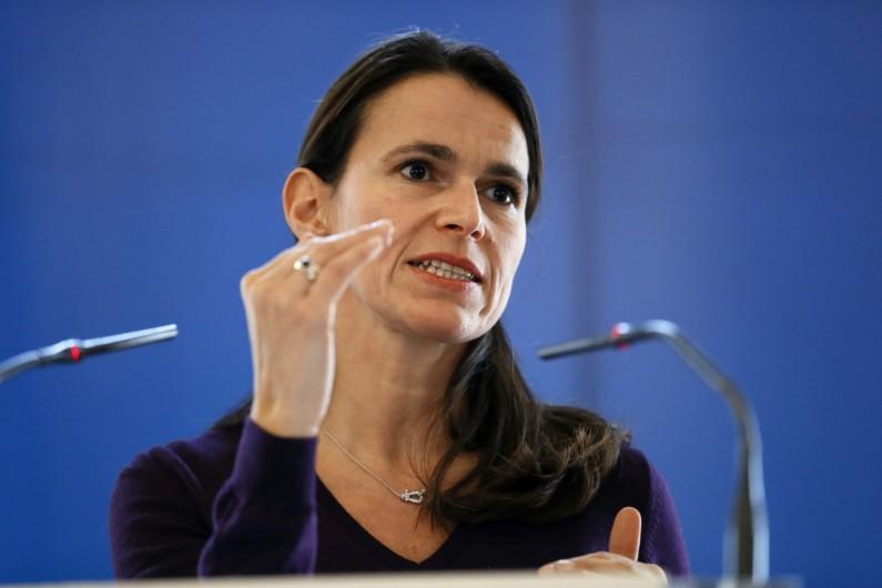 La ministre de la Culture et de la Communication Aurélie Filippetti lors d'une conférence de presse à Paris en novembre 2013 (archive).