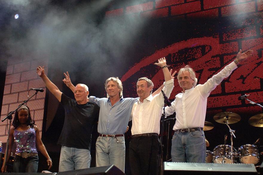 Le groupe Pink Floyd composé de David Gilmour, Roger Waters, Nick Mason et Richard Wright à Londres en 2005