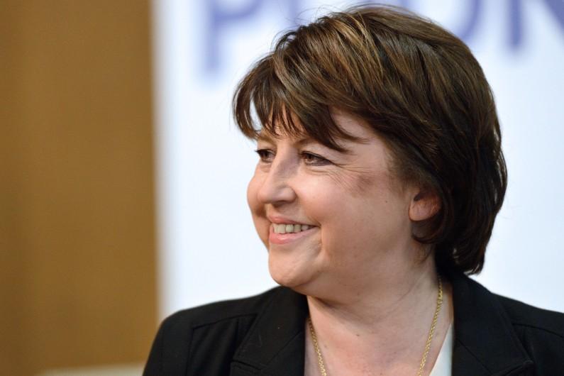 La maire de Lille, Martine Aubry, présentant sa liste pour les élections municipales, le 25 janvier 2014 (archives)