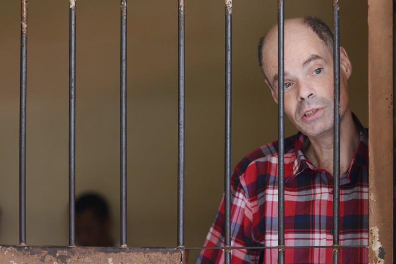 François Giuily dans la prison de Denpasar, à Bali, le 14 juillet 2014.