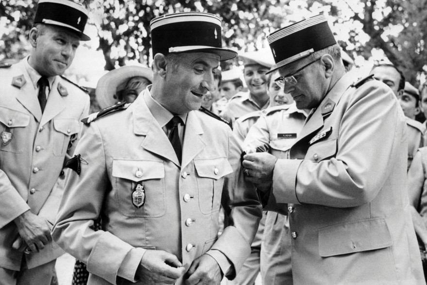 """Louis de Funès pendant le tournage du """"Gendarme en balade"""" en 1970"""