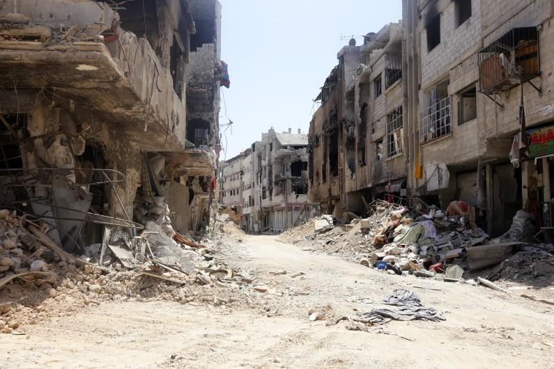 Une rue de Damas en Syrie, le 15 août 2014.