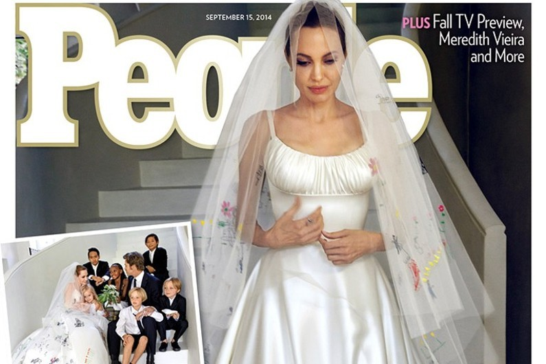 """Angelina Jolie en robe de mariée en Une de """"People"""""""