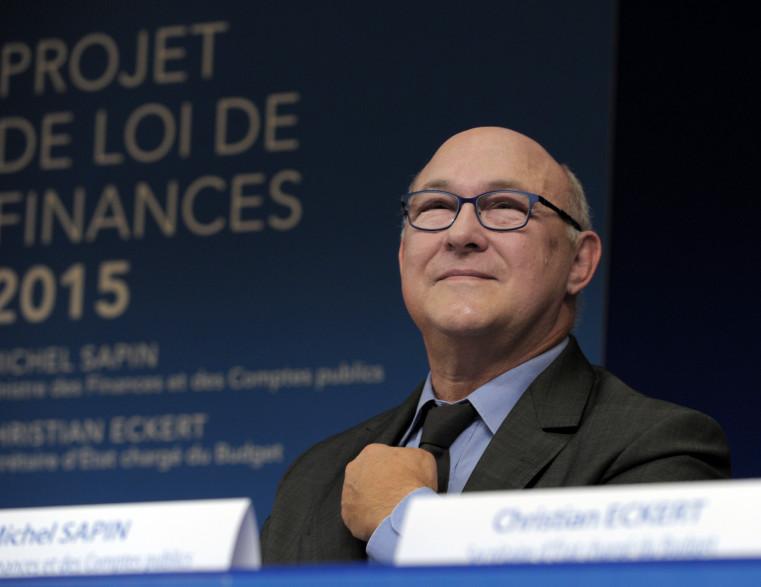 Le ministre de l'Economie Michel Sapin lors de la présentation du budget 2015 à Bercy.