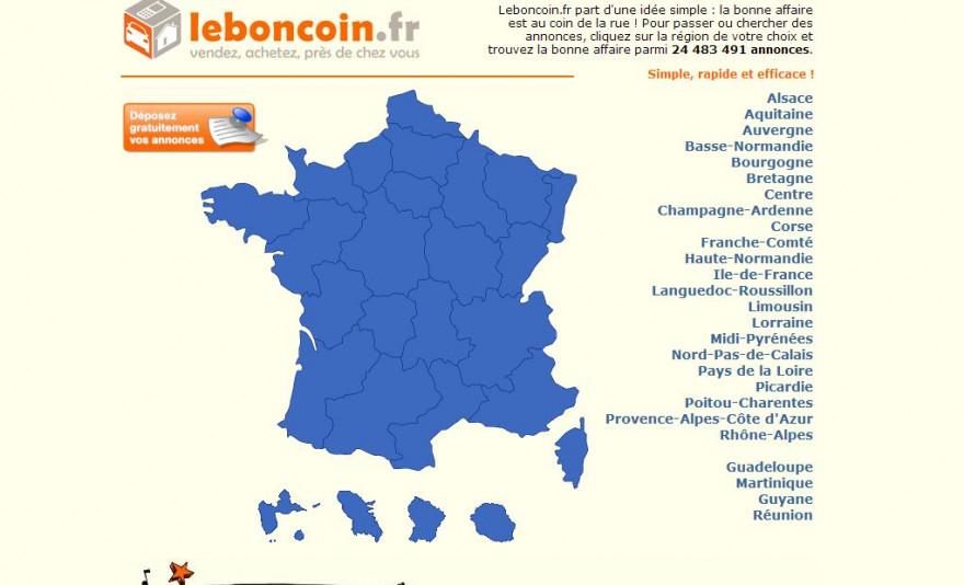 Le page d'accueil du site Le Bon Coin