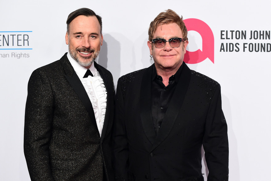Elton John et David Furnish à New York, le 28 octobre 2014.