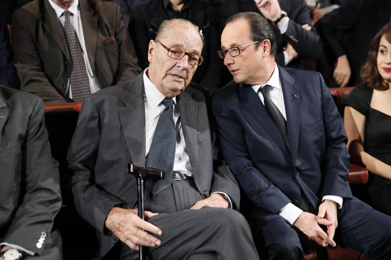 Jacques Chirac et François Hollande, le 21 novembre 2014 à Paris.