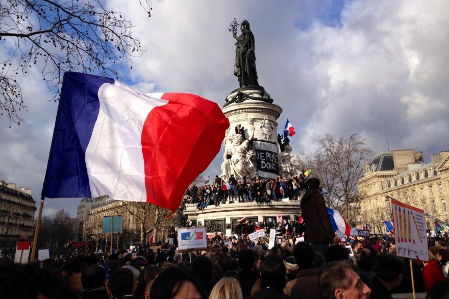 La place de la République, à Paris, lors de la marche républicaine