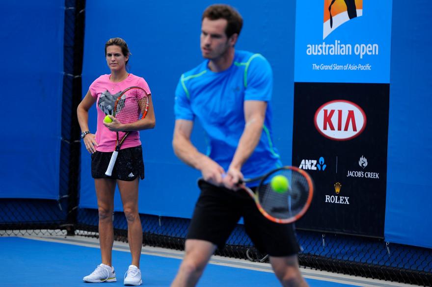Andy Murray à l'entraînement sous les yeux d'Amélie Mauresmo