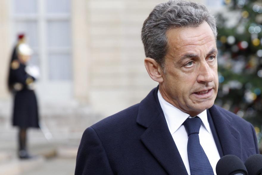 """Nicolas Sarkozy après sa rencontre avec François Hollande au sujet de l'attaque contre """"Charlie Hebdo"""", à l'Elysée, le 8 janvier 2015."""