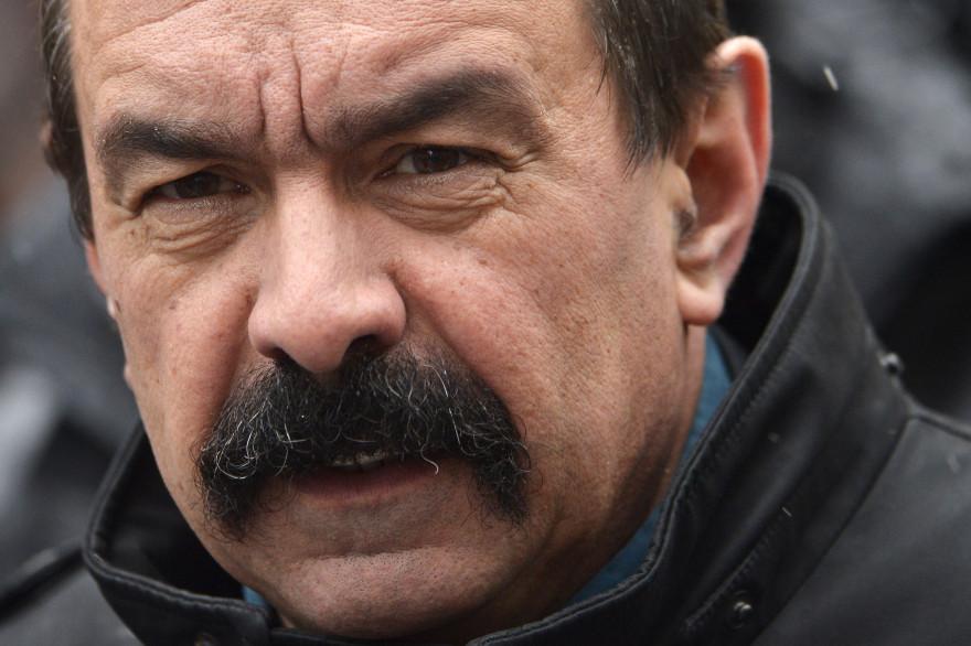 Philippe Martinez sous la bannière CGT lors d'une manifestation à Paris, le 29 janvier 2015.
