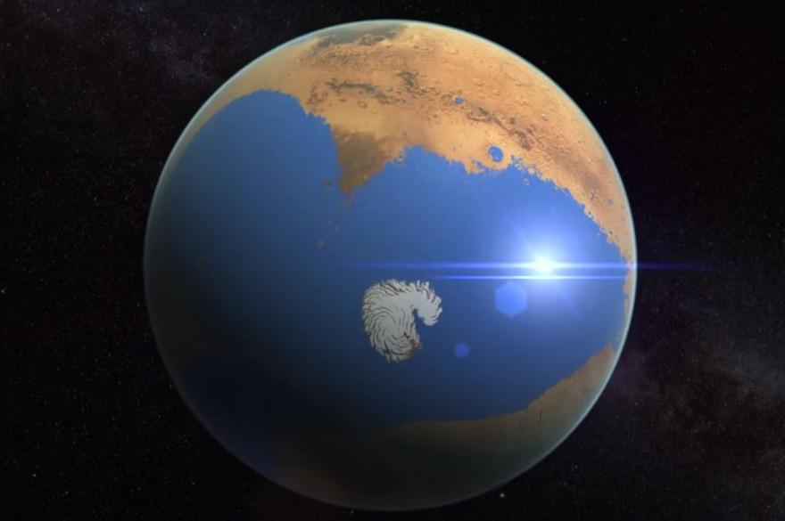 Une visualisation de l'océan qui se trouvait sur l'ancienne Mars d'après la NASA