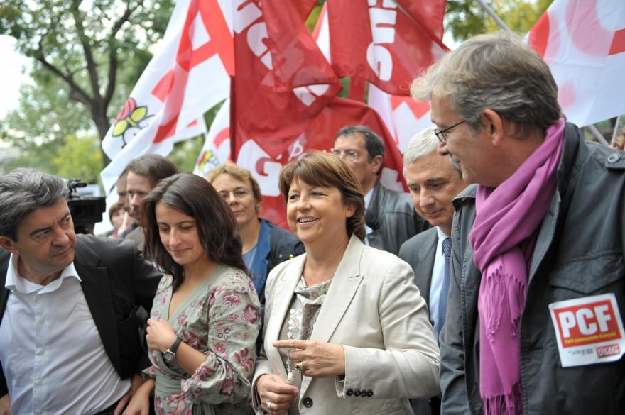 Jean-Luc Mélenchon, Cécile Duflot, Martine Aubry et Pierre Laurent, le 23 septembre 2010 (illustration)