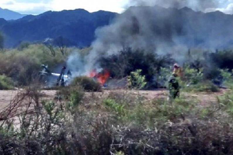 Photo de l'accident d'hélicoptère, dans la province de la Rioja en Argentine, le 9 mars 2015