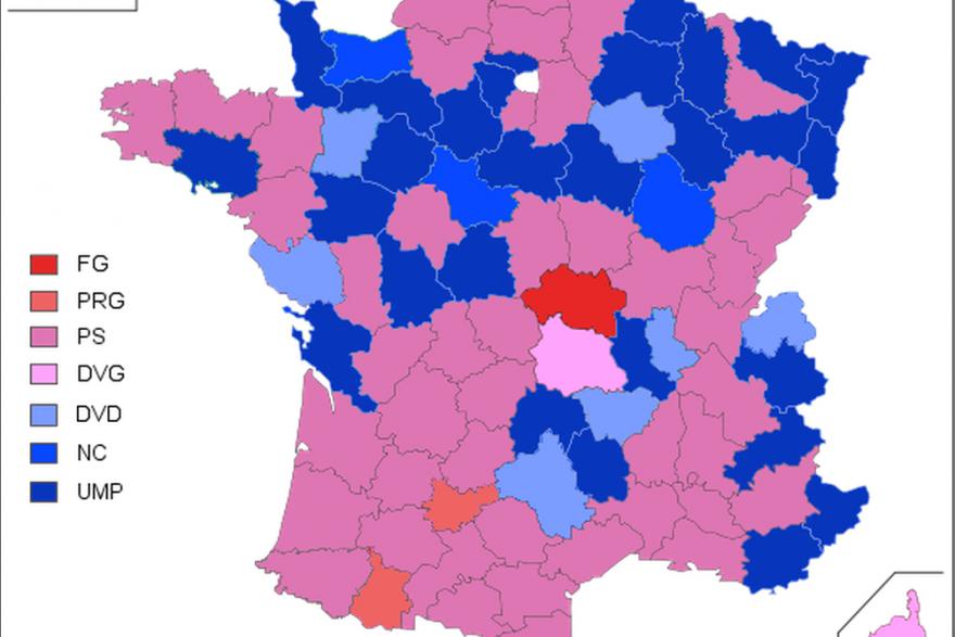 La carte de France après les élections cantonales de 2011