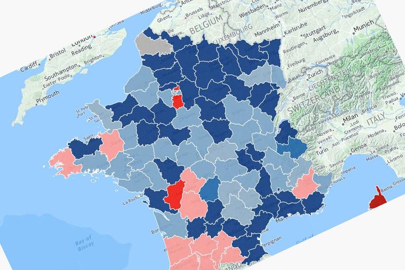Les partis arrivés en tête dans les départements après le premier tour des départementales