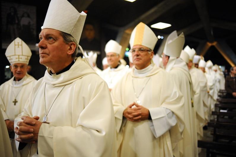 Des évêques à Lourdes, en novembre 2014.